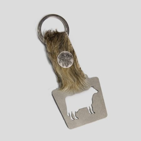 Schlüsselanhänger mit Flaschenöffner mit Kuhfell