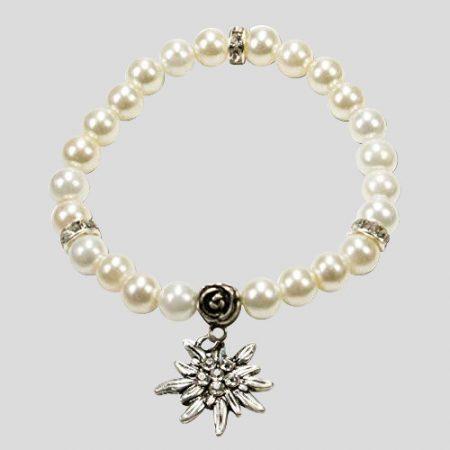 Edelweiss-Perlenarmband Fiona - cremeweiss