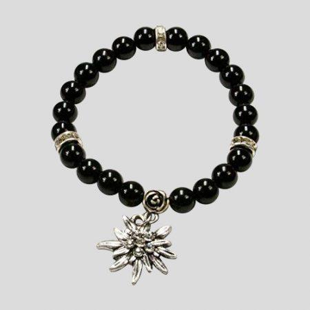 Edelweiss-Perlenarmband Fiona - schwarz