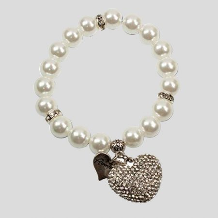 Perlenarmband Strassherzerl - cremeweiss