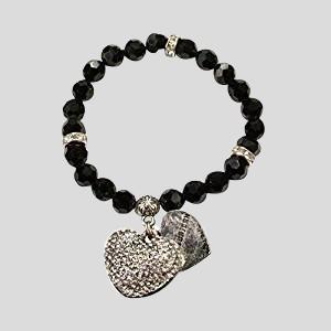 Perlenarmband Strassherzerl - schwarz