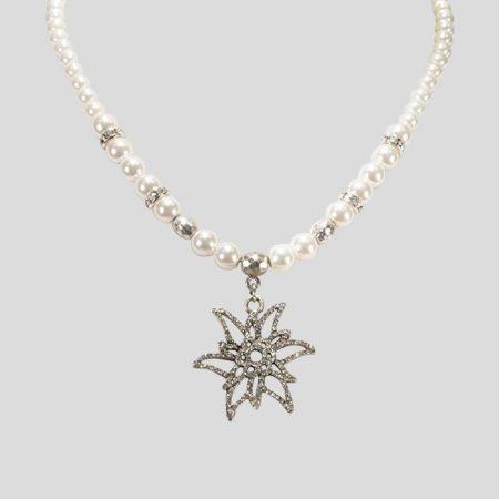 Perlen Halskette Glitzeredelweiss - Cremeweiss