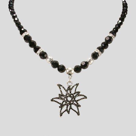Perlen Halskette Glitzeredelweiss - Schwarz