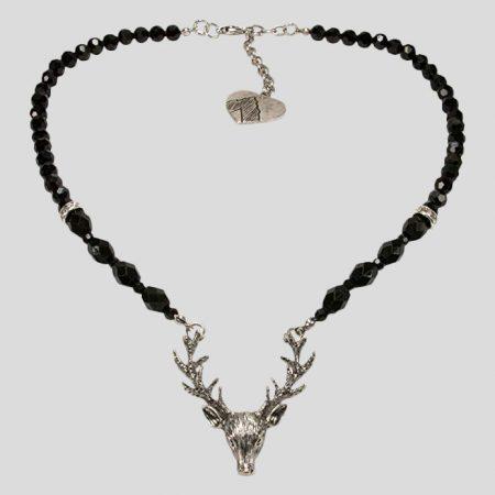 Perlenhalskette Hirsch - schwarz