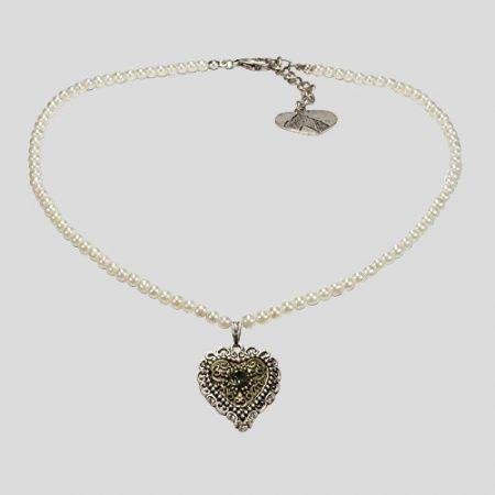 Perlenhalskette Trachtenherz - cremeweiss