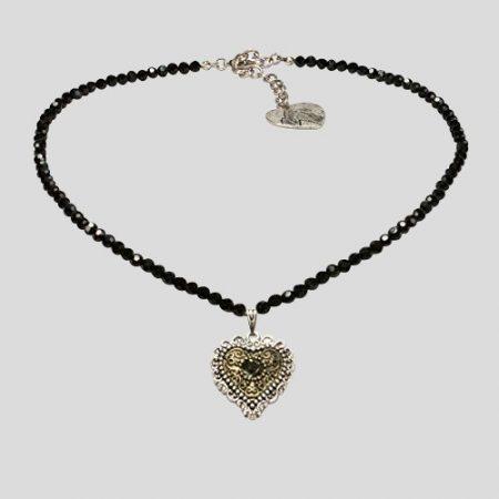 Perlenhalskette Trachtenherz - schwarz
