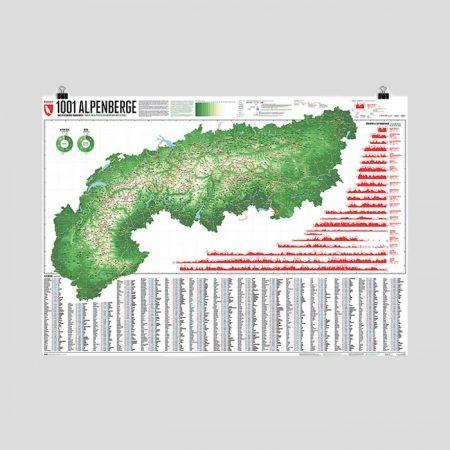 Alpenkarte mit 1001 Alpenbergen