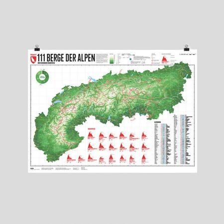 Alpenkarte mit 111 Bergen