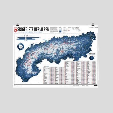 Alpenkarte mit 275 Skigebieten