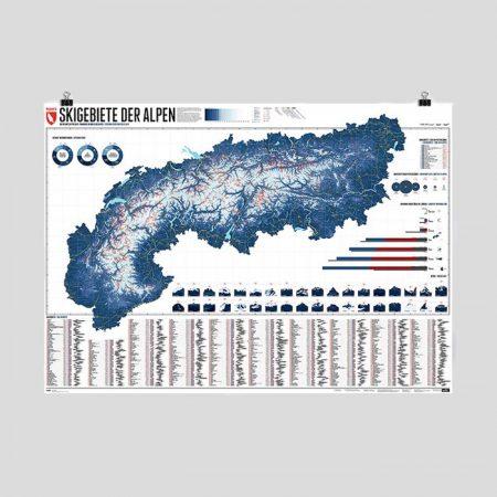 Alpenkarte mit 630 Skigebieten