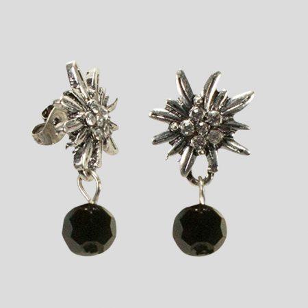 Ohrstecker Edelweiss Perle schwarz