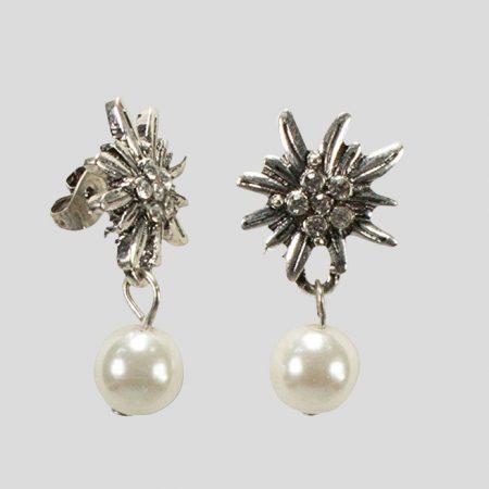 Ohrstecker Edelweiss Perle weiss