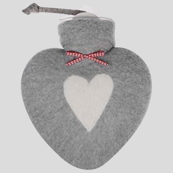 Herz Wärmflasche - grau