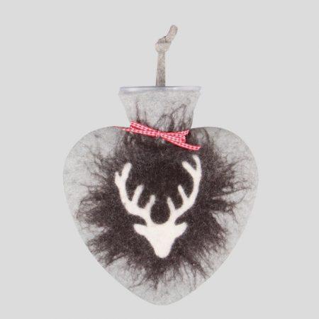 Hirsch Wärmflasche - grau