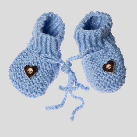 Neugeborenenschühchen handgestrickt hellblau