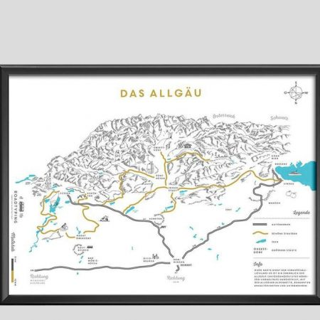 Allgäu Karte als Bild gerahmt