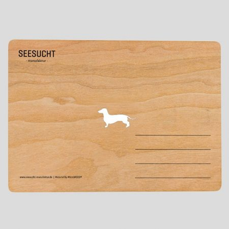 Holzpostkarte mit Dackel