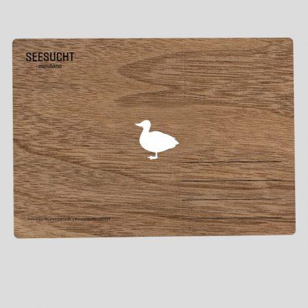 Holzpostkarte mit Ente