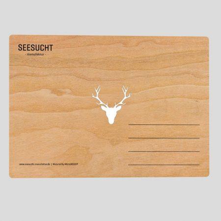 Holzpostkarte mit Geweih