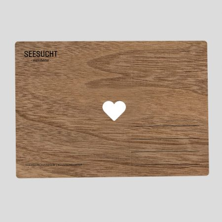 Holzpostkarte mit Herz