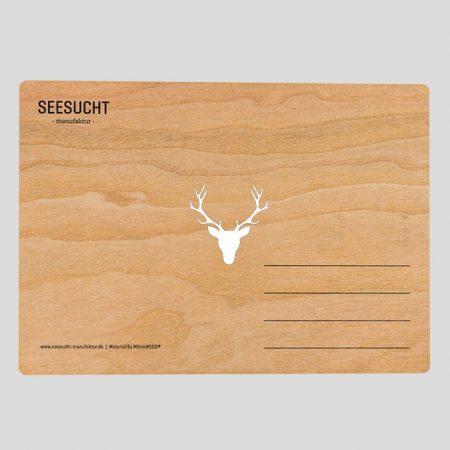 Holzpostkarte mit Hirsch