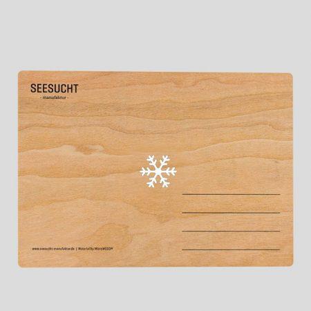Holzpostkarte mit Schneeflocke