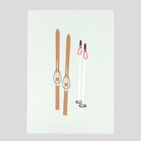 Postkarte Ski