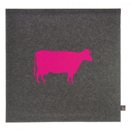 Wollfilz Sitzkissen Kuh pink 40x40 cm