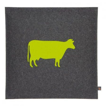 Wollfilz Sitzkissen Kuh gelbgrün 40x40 cm