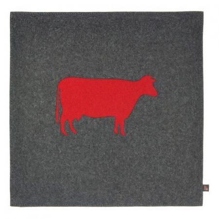 Wollfilz Sitzkissen Kuh grau/rot 40x40 cm