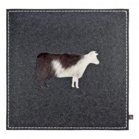 Wollfilz Sitzkissen Kuh grau 40x40 cm