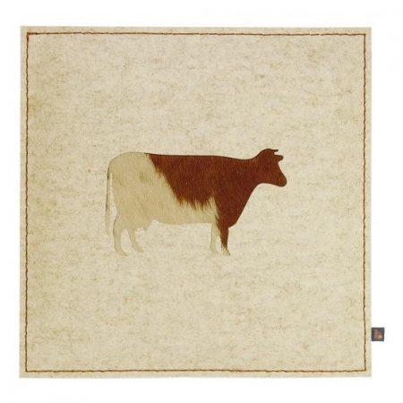 Wollfilz Sitzkissen Kuh beige 40x40 cm