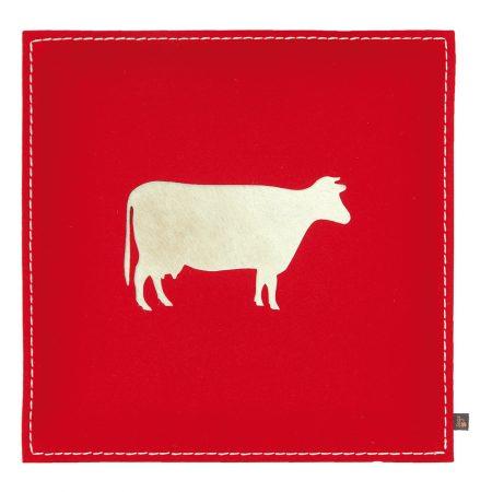 Wollfilz Sitzkissen Kuh rot 40x40 cm
