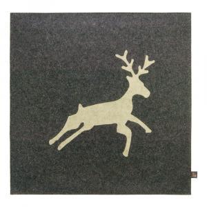 Wollfilz Sitzkissen Hirsch grau 40x40 cm